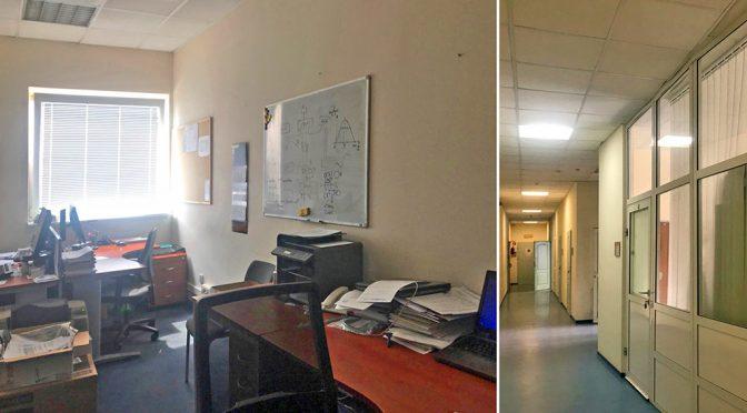 na zdjęciu lokalu biurowy do wynajęcia we Wrocławiu oraz korytarz