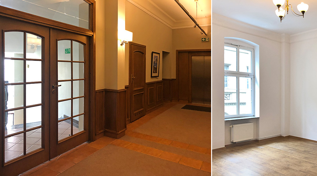 po lewej hol, po prawej fragment wnętrze luksusowego biura do wynajmu Wrocław