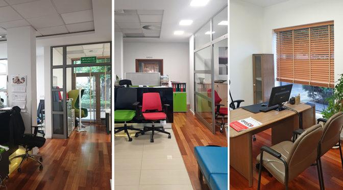 3 ujęcia komfortowego wnętrza biura do wynajmu Wrocław